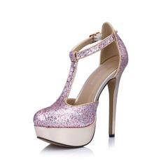 Kunstleer Sprankelende Glitter Stiletto Heel Pumps Plateau Closed Toe met Gesp schoenen (085026448)
