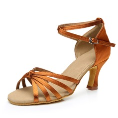 Women's Satin Heels Sandals Latin With Ankle Strap Dance Shoes (053092234)