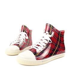 Женщины PVC Плоский каблук Ботинки Полусапоги Резиновые сапоги с Шнуровка обувь (088127043)