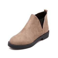 Женщины Замша Плоский каблук Полусапоги обувь (088074428)