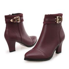 Женщины кожа Устойчивый каблук Ботинки с Другие обувь (088105822)