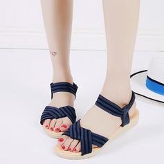 Женщины кожа Вид каблука Сандалии Открытый мыс Босоножки с Плетеный ремень Эластичная лента обувь (087121474)