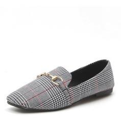 Женщины кожа На плокой подошве Закрытый мыс с пряжка обувь (086165203)