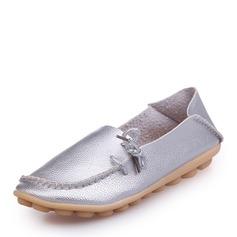 Женщины кожа Плоский каблук На плокой подошве Закрытый мыс с Соединение врасщеп обувь (086164485)