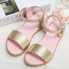 Jentas Titte Tå Ekte lær flat Heel Sandaler Flate sko Flower Girl Shoes (207095563)