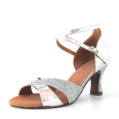 Women's Leatherette Sparkling Glitter Heels Sandals Latin With Ankle Strap Dance Shoes (053146274)