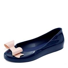 Kvinner PVC Flate sko Lukket Tå med Bowknot sko (086165231)