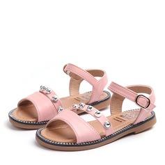 Jentas Titte Tå Leather flat Heel Sandaler med Spenne Rhinestone Velcro Rivet (207157206)