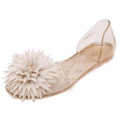 Kvinner PVC Flate sko Titte Tå med Blomst sko (086165215)