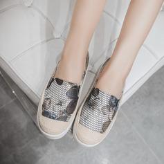 Женщины кожа Вид каблука На плокой подошве с Животных печати обувь (086123501)