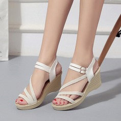 Женщины Холст Вид каблука Сандалии Танкетка Открытый мыс Босоножки с пряжка обувь (087131899)