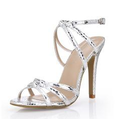 Женщины кожа Высокий тонкий каблук Сандалии Босоножки обувь (087072660)
