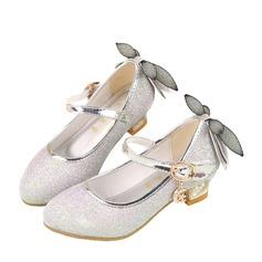 Jentas Lukket Tå Leather lav Heel Pumps Flower Girl Shoes med Bowknot Glitrende Glitter Velcro (207134065)