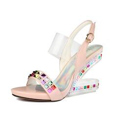 Mulheres Espumante Glitter Plataforma Sandálias Sapatos abertos sapatos (087084246)