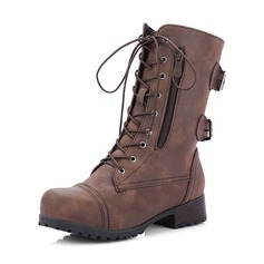 Женщины кожа Низкий каблук Ботинки Сапоги до середины голени Верховые ботинки с пряжка Застежка-молния Шнуровка обувь (088146323)
