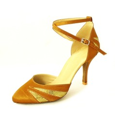 Women's Satin Sparkling Glitter Heels Pumps Ballroom With Ankle Strap Dance Shoes (053013166)