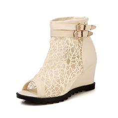 Konstläder Kilklack Sandaler Peep Toe Boots med Spänne skor (087050510)