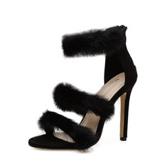 Women's Suede Stiletto Heel Sandals Pumps Peep Toe With Zipper Fur shoes (087151054)