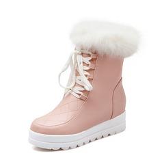 Женщины кожа Вид каблука Полусапоги обувь (088074731)