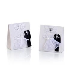 Bride & Groom Handbag shaped Favor Boxes With Bow (Set of 12) (050043245)