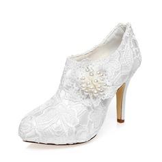Women's Satin Stiletto Heel Closed Toe Pumps (047083297)