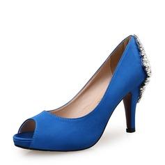 Женщины Атлас Высокий тонкий каблук На каблуках Открытый мыс с горный хрусталь пряжка обувь (085147464)