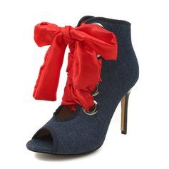 Женщины Жан Высокий тонкий каблук Сандалии На каблуках Открытый мыс с Шнуровка обувь (087155408)