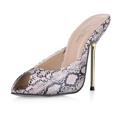Женщины кожа Высокий тонкий каблук Сандалии На каблуках обувь (087053012)