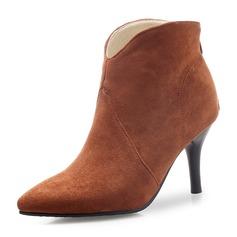 Femmes Suède Talon stiletto Escarpins Bout fermé Bottes Bottines avec Zip chaussures (088172567)