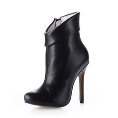 Kunstleder Stöckel Absatz Stiefelette mit Reißverschluss Schuhe (088038166)