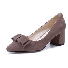 Женщины Замша Устойчивый каблук На каблуках с бантом обувь (085102137)