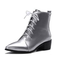Женщины кожа Устойчивый каблук Полусапоги обувь (088092729)