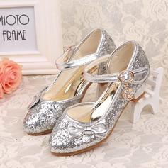 Jentas Lukket Tå Leather lav Heel Pumps Flower Girl Shoes med Bowknot Glitrende Glitter (207123042)