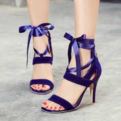 Mulheres Couro Salto agulha Sandálias Bombas Peep toe com Laço de fita Zíper Aplicação de renda sapatos (087120760)