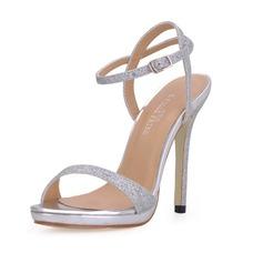 Mulheres Espumante Glitter Salto agulha Sandálias Sapatos abertos com Fivela (047017921)