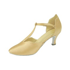 De mujer Satén Tacones Salón Sala de Baile con Tira T Zapatos de danza (053013229)