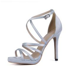 Kvinnor Plast Stilettklack Sandaler Pumps Peep Toe med Spänne skor (087154470)