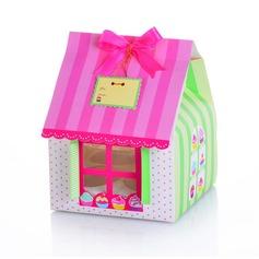 Casa Bonito em Forma Cubóide Caixas do queque com Fitas (conjunto de 12) (050024715)
