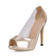 Patent Leather Stiletto Heel Sandalen Plateau Peep Toe schoenen (085026360)