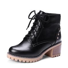 Femmes PU Talon bottier Escarpins Plateforme Bottes Bottines avec Rivet Zip Dentelle chaussures (088145090)