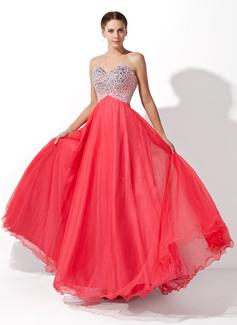 Corte A/Princesa Novio Hasta el suelo Tul Vestido de baile de promoción con Cuentas (018004812)