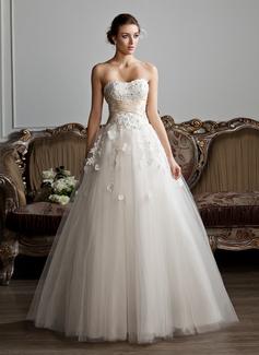 Corte de baile Novio Hasta el suelo Tul Vestido de novia con Volantes Fajas Cuentas Los appliques Encaje Flores (002013803)