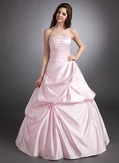 Corte de baile Estrapless Hasta el suelo Satén Vestido de quinceañera con Volantes Bordado (021002290)