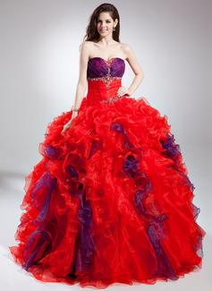 Corte de baile Escote corazón Hasta el suelo Organdí Vestido de quinceañera con Bordado Cascada de volantes (021015885)