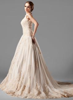 Corte de baile Cabestro Cola capilla Tul Encaje Vestido de novia con Cuentas (002000154)