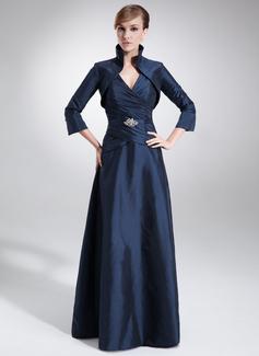 A-Linjainen V-kaula-aukko Lattiaa hipova pituus Tafti Morsiamen äiti-mekko jossa Rypytys Helmikoristelu (008006199)