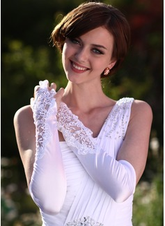 Satén elástico Codo Largo Guantes de novia (014005531)