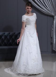 Corte A/Princesa Escote redondo Barrer/Cepillo tren Organdí Vestido de novia con Cuentas Los appliques Encaje (002000311)