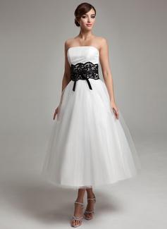 Corte de baile Sin tirantes Hasta la tibia Tul Vestido de novia con Encaje Fajas Cuentas Lazo(s) (002011609)
