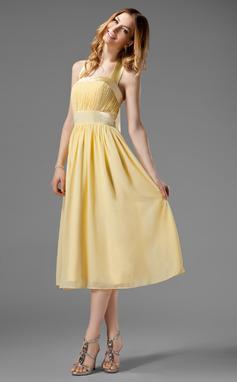 A-linjainen/Prinsessa Niskalenkillä Polven alle Sifonki Morsiusneitojen mekko jossa Rypytys Rusetti (007000956)